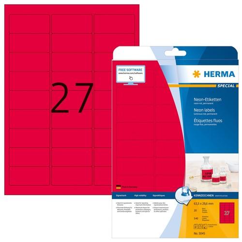Etiketten Inkjet+Laser+Kopier 63,5x29,6mm auf A4 Bögen neonrot permanent Herma 5045 (PACK=540 STÜCK) Produktbild
