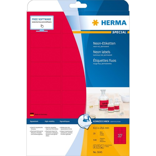 Etiketten Inkjet+Laser+Kopier 63,5x29,6mm auf A4 Bögen neonrot permanent Herma 5045 (PACK=540 STÜCK) Produktbild Additional View 1 L