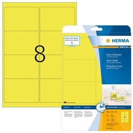 Etiketten Inkjet+Laser+Kopier 99,1x67,7mm auf A4 Bögen neongelb permanent Herma 5144 (PACK=160 STÜCK) Produktbild