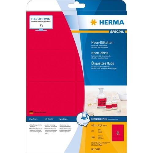 Etiketten Inkjet+Laser+Kopier 99,1x67,7mm auf A4 Bögen neonrot permanent Herma 5046 (PACK=160 STÜCK) Produktbild Additional View 1 L