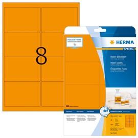 Etiketten Inkjet+Laser+Kopier 99,1x67,7mm auf A4 Bögen neonorange permanent Herma 5145 (PACK=160 STÜCK) Produktbild