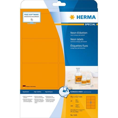 Etiketten Inkjet+Laser+Kopier 99,1x67,7mm auf A4 Bögen neonorange permanent Herma 5145 (PACK=160 STÜCK) Produktbild Additional View 1 L