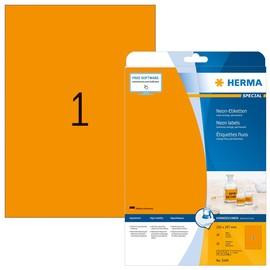 Etiketten Inkjet+Laser+Kopier 210x297mm auf A4 Bögen neonorange permanent Herma 5149 (PACK=20 STÜCK) Produktbild