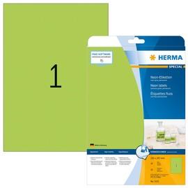Etiketten Inkjet+Laser+Kopier 210x297mm auf A4 Bögen neongrün permanent Herma 5151 (PACK=20 STÜCK) Produktbild