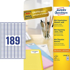 Mini-Etiketten Inkjet+Laser+Kopier 25,4x10mm auf A4 Bögen weiß Zweckform L7658-25 (PACK=4725 STÜCK) Produktbild