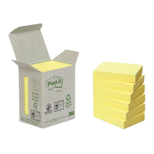 Haftnotizen Post-it Recycling Notes Mini Tower 38x51mm gelb Papier 3M 653-1B (PACK=6x 100 BLATT) Produktbild Front View L
