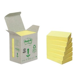Haftnotizen Post-it Recycling Notes Mini Tower 38x51mm gelb Papier 3M 653-1B (PACK=6x 100 BLATT) Produktbild
