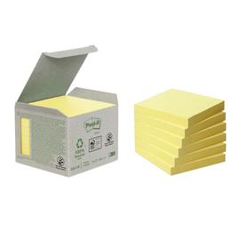 Haftnotizen Post-it Recycling Notes Mini Tower 76x76mm gelb Papier 3M 654-1B (PACK=6x 100 BLATT) Produktbild
