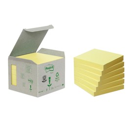 Haftnotizen Post-it Recycling Notes Mini Tower 76x76mm gelb Papier 3M 6541B (PACK=6x 100 BLATT) Produktbild