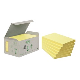 Haftnotizen Post-it Recycling Notes Mini Tower 127x76mm gelb Papier 3M 6551B (PACK=6x 100 BLATT) Produktbild
