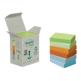 Haftnotizen Post-it Recycling Notes Mini Tower 38x51mm rainbowfarben Papier 3M 6531GB (ST=6x 100 BLATT) Produktbild