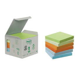 Haftnotizen Post-it Recycling Notes Mini Tower 76x76mm rainbowfarben Papier 3M 6541GB (ST=6x 100 BLATT) Produktbild
