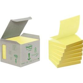 Haftnotizen Post-it Recycling Z-Notes Mini Tower 76x76mm gelb Papier 3M R3301B (PACK=6x 100 STÜCK) Produktbild
