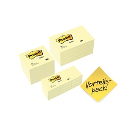 Haftnotizen Post-it Notes 76x76mm + 127x76mm + 51x38mm gelb Papier 3M 654655P (PACK=24x 100 BLATT) Produktbild