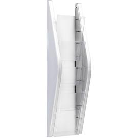 Wand-Prospekthalter 1/3 A4 169x80x540mm 4 Fächer silber Helit H6270300 Produktbild
