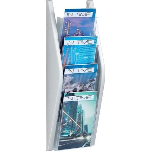 Wand-Prospekthalter A5 220x80x540mm 4 Fächer silber Helit H6270200 Produktbild Additional View 1 L