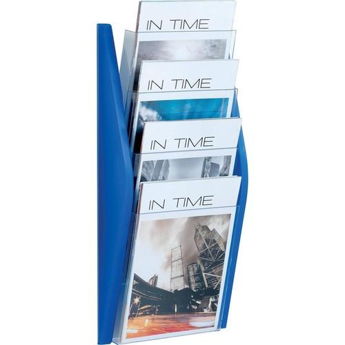 Wand-Prospekthalter A4 280x80x540mm 4 Fächer blau Helit H6270130 Produktbild Additional View 1 L