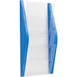 Wand-Prospekthalter A4 280x80x540mm 4 Fächer blau Helit H6270130 Produktbild