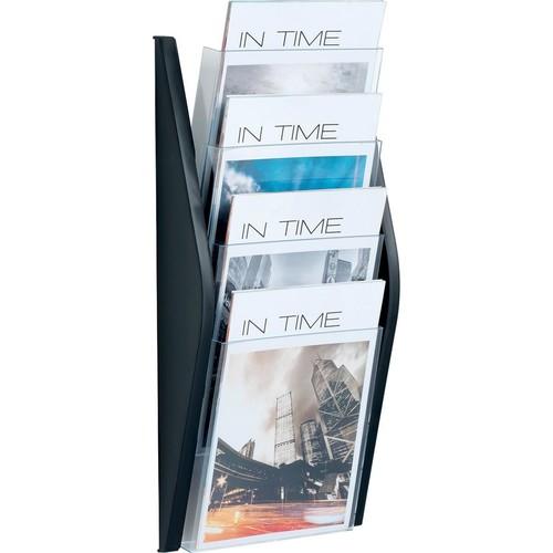 Wand-Prospekthalter A4 280x80x540mm 4 Fächer schwarz Helit H6270195 Produktbild Additional View 1 L