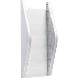 Wand-Prospekthalter A4 280x80x540mm 4 Fächer silber Helit H6270100 Produktbild