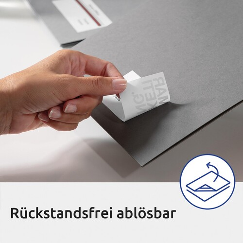 Namens-Etiketten Laser+Kopier 80x50mm auf A4 Bögen weiß Acetatseide Zweckform L4785-20 (PACK=200 STÜCK) Produktbild Additional View 4 L