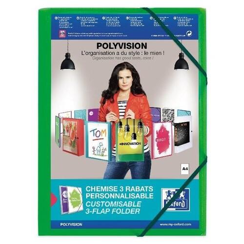 Eckspanner Oxford polyvision für 300Blatt mit 3 Klappen limone PP 100201155 Produktbild Front View L