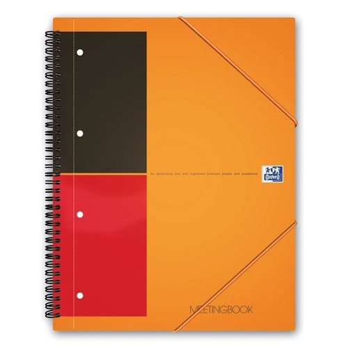 Meetingbook Oxford International A5+ liniert 10fach Lochung Doppelspirale 80Blatt 80g Optik Paper weiß 100103453 Produktbild Additional View 1 L