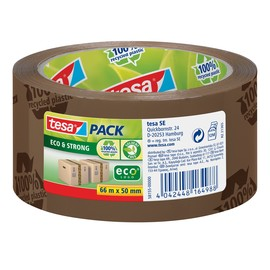 Klebeband Tesapack Eco & Strong 50mm x 66m braun bedruckt recyceltem PP Tesa 58155-00000-00 Produktbild