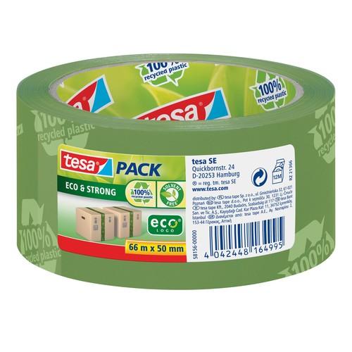 Klebeband Tesapack Eco & Strong 50mm x 66m grün bedruckt recyeltem PP Tesa 58156-00000-00 Produktbild Front View L