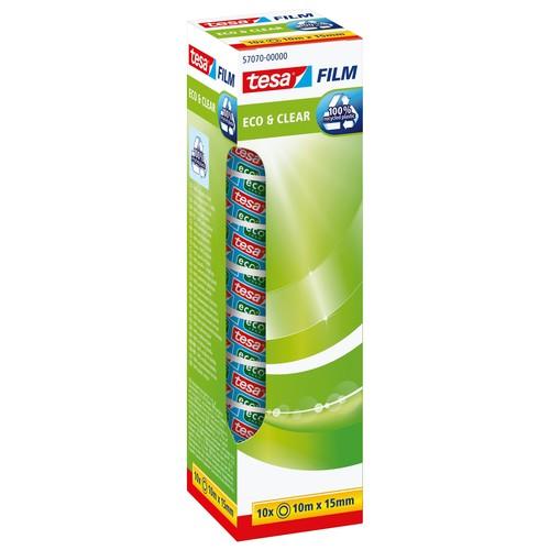 Klebefilm Eco & Clear 15mm x 10m transparent klar Tesa 57070-00000-00 (PACK=10 ROLLEN) Produktbild Additional View 1 L