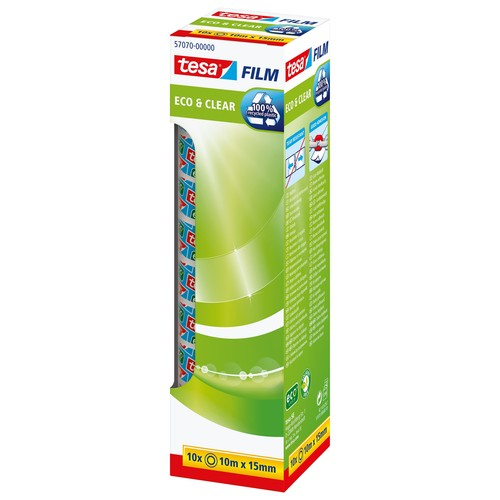 Klebefilm Eco & Clear 15mm x 10m transparent klar Tesa 57070-00000-00 (PACK=10 ROLLEN) Produktbild Additional View 2 L