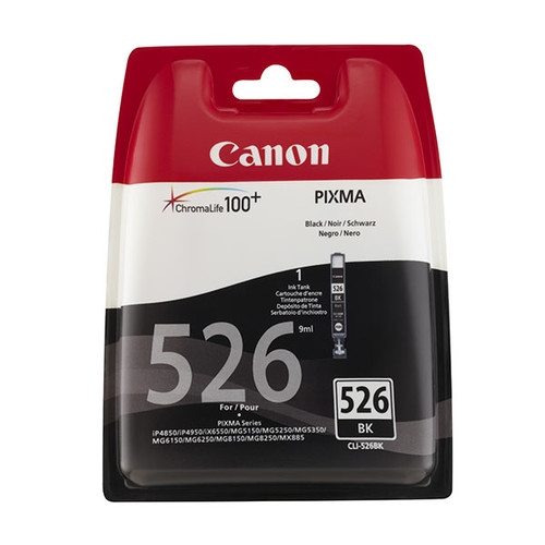Tintenpatrone CLI-526BK für Canon Pixma IP4850/MG5150 9ml schwarz Canon 4540b001 Produktbild Front View L