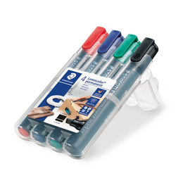 Permanentmarker Lumocolor 350 Etui 2-5mm Keilspitze sortiert wasserfest Staedtler 350WP4 (PACK=4 STÜCK) Produktbild