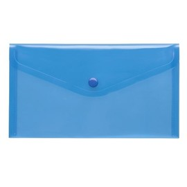 Dokumententasche DIN lang mit Druckknopf blau-transparent PP FolderSys 40913 (PACK=10 STÜCK) Produktbild