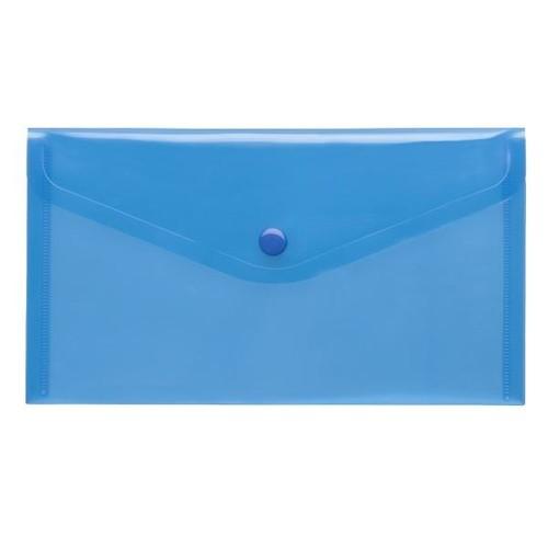 Dokumententasche DIN lang mit Druckknopf blau-transparent PP FolderSys 40913 (PACK=10 STÜCK) Produktbild Front View L