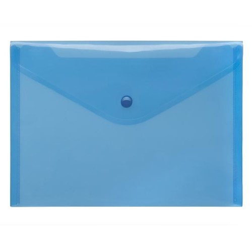 Dokumententasche A5 mit Druckknopf blau-transparent PP FolderSys 40912-44 (PACK=10 STÜCK) Produktbild Front View L