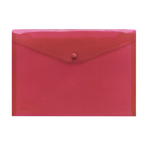 Dokumententasche A4 mit Druckknopf rot-transparent PP FolderSys 40111-84 (PACK=10 STÜCK) Produktbild Front View L