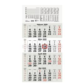 Viermonatskalender 2020 33x63,5cm hellgrau/weiß Zettler 959-0011 Produktbild
