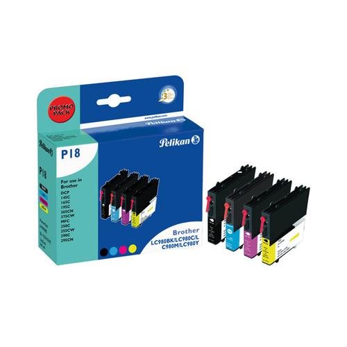 Tintenpatrone Gr. 1521 (LC-980) für DCP145C/MFC250C 1x10ml/3x7ml 1xschwarz/1x je Farbe Pelikan 4107602 (ST=4 STÜCK) Produktbild Front View L