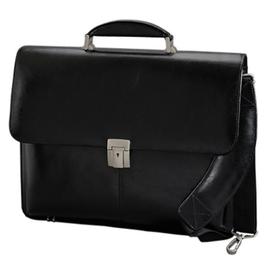 Aktentasche mit Laptopfach, abnehmbarer Schulterriemen FAENZA 41x32x13cm schwarz Leder Alassio 47011 Produktbild