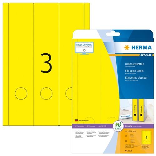 Rückenschilder zum Bedrucken 61x297mm lang breit auf A4 Bögen gelb selbstklebend Herma 5136 (PACK=60 STÜCK) Produktbild