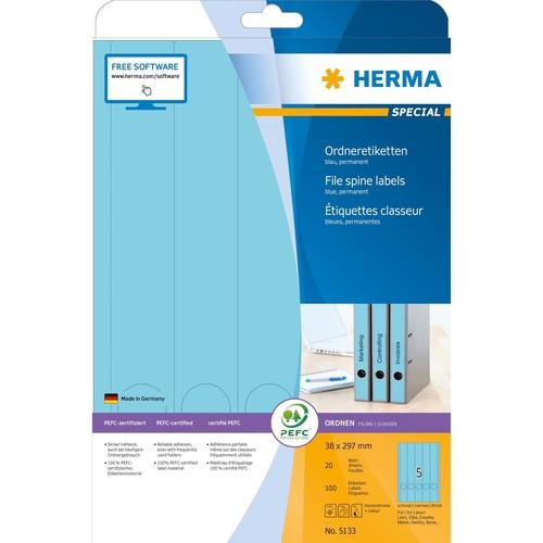 Rückenschilder zum Bedrucken 38x297mm lang schmal auf A4 Bögen blau selbstklebend Herma 5133 (PACK=100 STÜCK) Produktbild Additional View 1 L