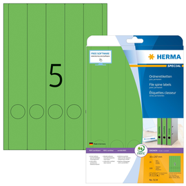 Rückenschilder zum Bedrucken 38x297mm lang schmal auf A4 Bögen grün selbstklebend Herma 5134 (PACK=100 STÜCK) Produktbild