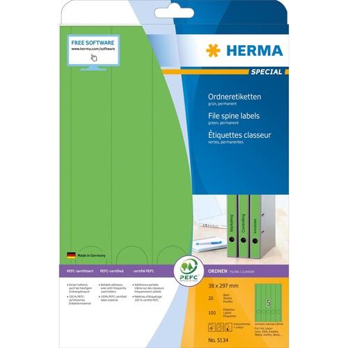 Rückenschilder zum Bedrucken 38x297mm lang schmal auf A4 Bögen grün selbstklebend Herma 5134 (PACK=100 STÜCK) Produktbild Additional View 1 L