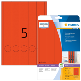 Rückenschilder zum Bedrucken 38x297mm lang schmal auf A4 Bögen rot selbstklebend Herma 5132 (PACK=100 STÜCK) Produktbild