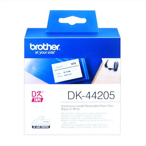 Endlosetikettenrollen wiederablösbar 62mmx30,48m weiß Papier Brother DK-44205 (PACK=30,48 METER) Produktbild Additional View 1 L