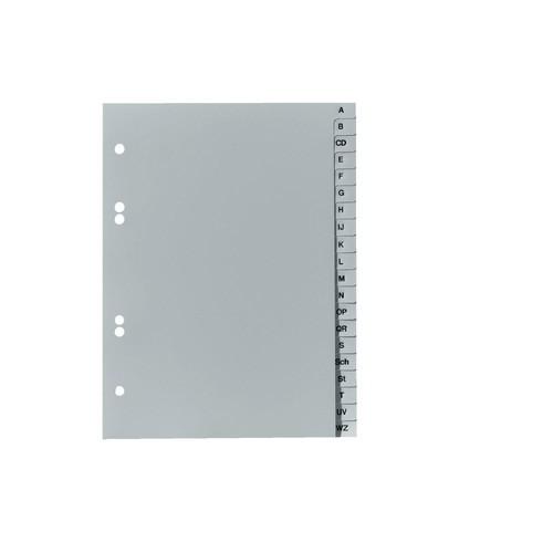 Register A-Z A5 hoch 165x215mm grau Plastik Herlitz 10841906 Produktbild Front View L