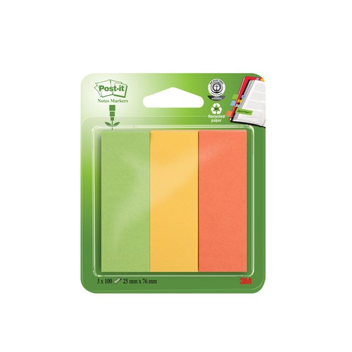 Haftstreifen Post-it Recycling Page Marker 25x76mm 3 Farben Papier 3M 671-3R (PACK=3x 100 STÜCK) Produktbild Additional View 1 L