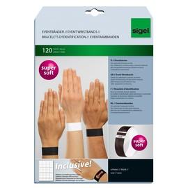 Eventbänder mit Etiketten 26cm schwarz besonders weiches Material Sigel EB215 (PACK=120 STÜCK) Produktbild