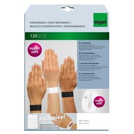 Eventbänder mit Etiketten 26cm weiß besonders weiches Material Sigel EB216 (PACK=120 STÜCK) Produktbild